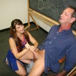 Teen cheerleader is wanking her teacher