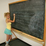 Vanessa Vixen in a schoolgirl outfit being punished