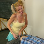 Vanessa Vixen unzips her teacher to give him a handjob in the classroom