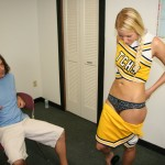 Vanessa Cage stripping off her cheerleading skirt