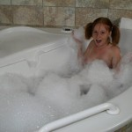 Alyssa Hart takes a relaxing bubbles bath