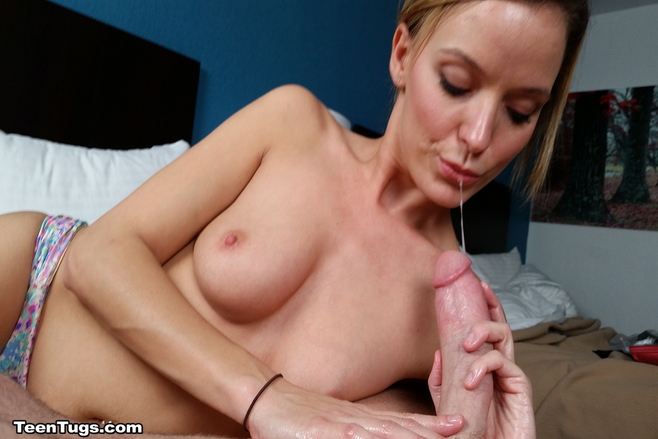 Teen huge cock hand job blonde creampie