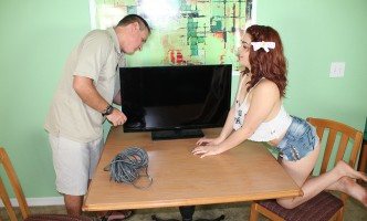 teen babe seduces a repair man
