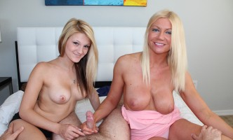 two blondes jerking a cock