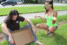 Sexy Babe Sasha Foxxx Stroking A Homeless - Picture 1