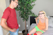Blonde Teen Showing Handjob Skills With Her Step Dad - Picture 1